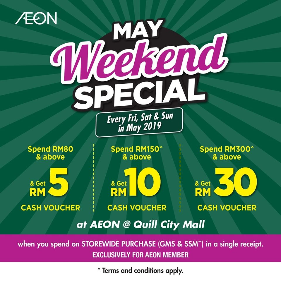 AEON Quill City Mall Weekend Special - Free Cash Voucher on Purchase