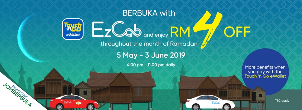 Enjoy RM4 OFF Your EzCab Ride When You Pay with Touch N Go eWallet