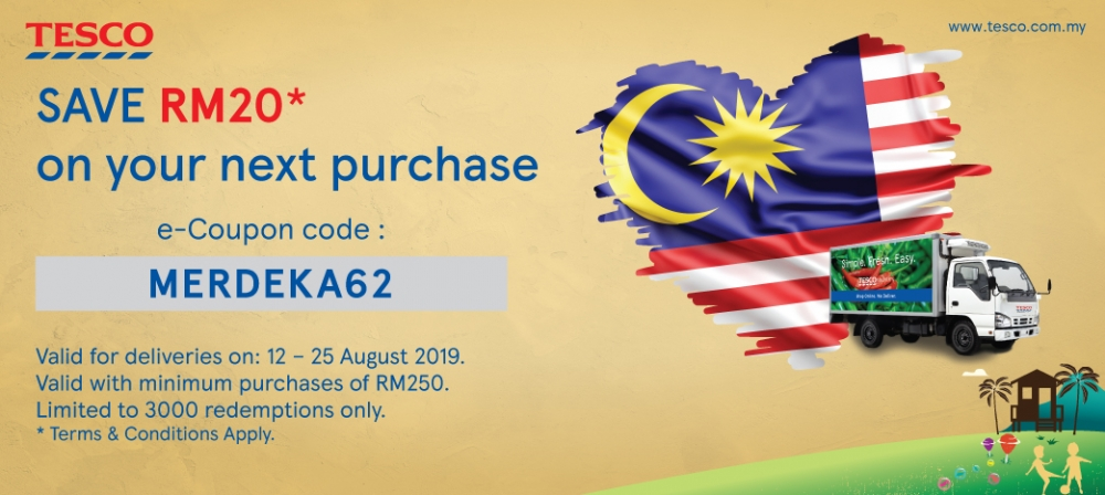 Tesco Online Shopping RM20 e-Coupon Code