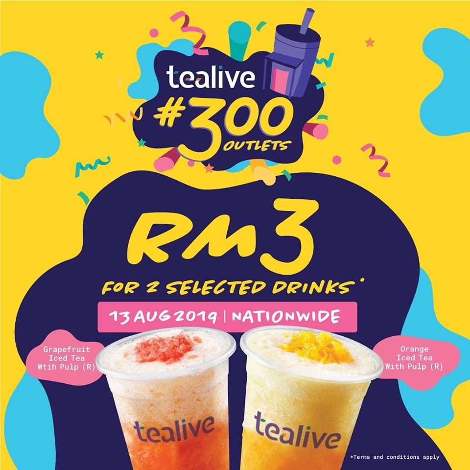 Tealive RM3 For 2 Selected Drinks @ 300 Outlets Nationwide