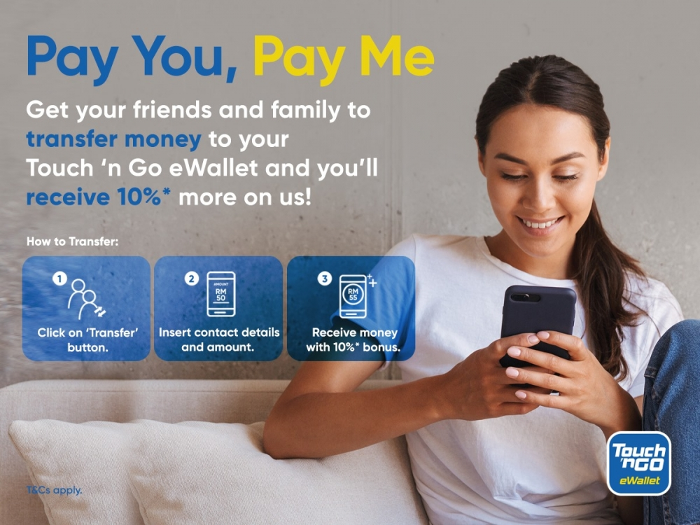 Touch n Go eWallet Pay You, Pay Me 10% Bonus
