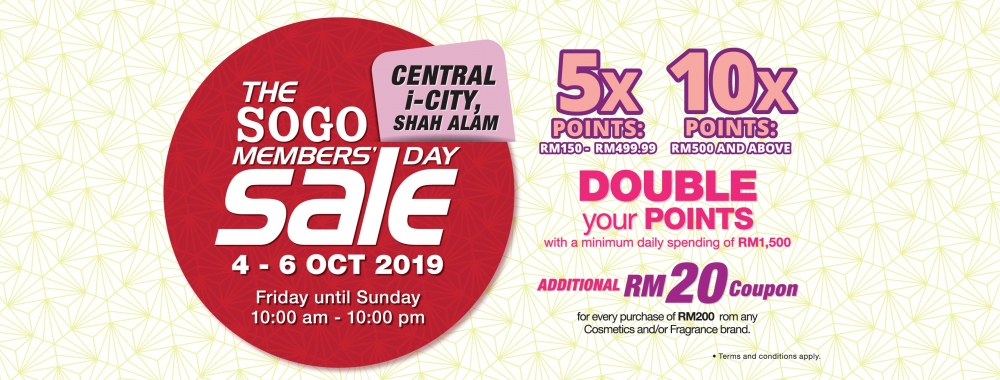 The Sogo i-City Members Day Sale - Up To 10X Points + Free Voucher