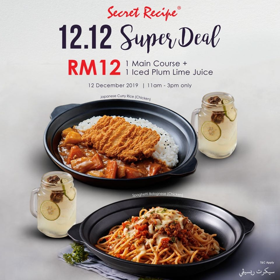 Secret Recipe 12.12 Deal - Main Course + Iced Plum Lime Juice only RM12