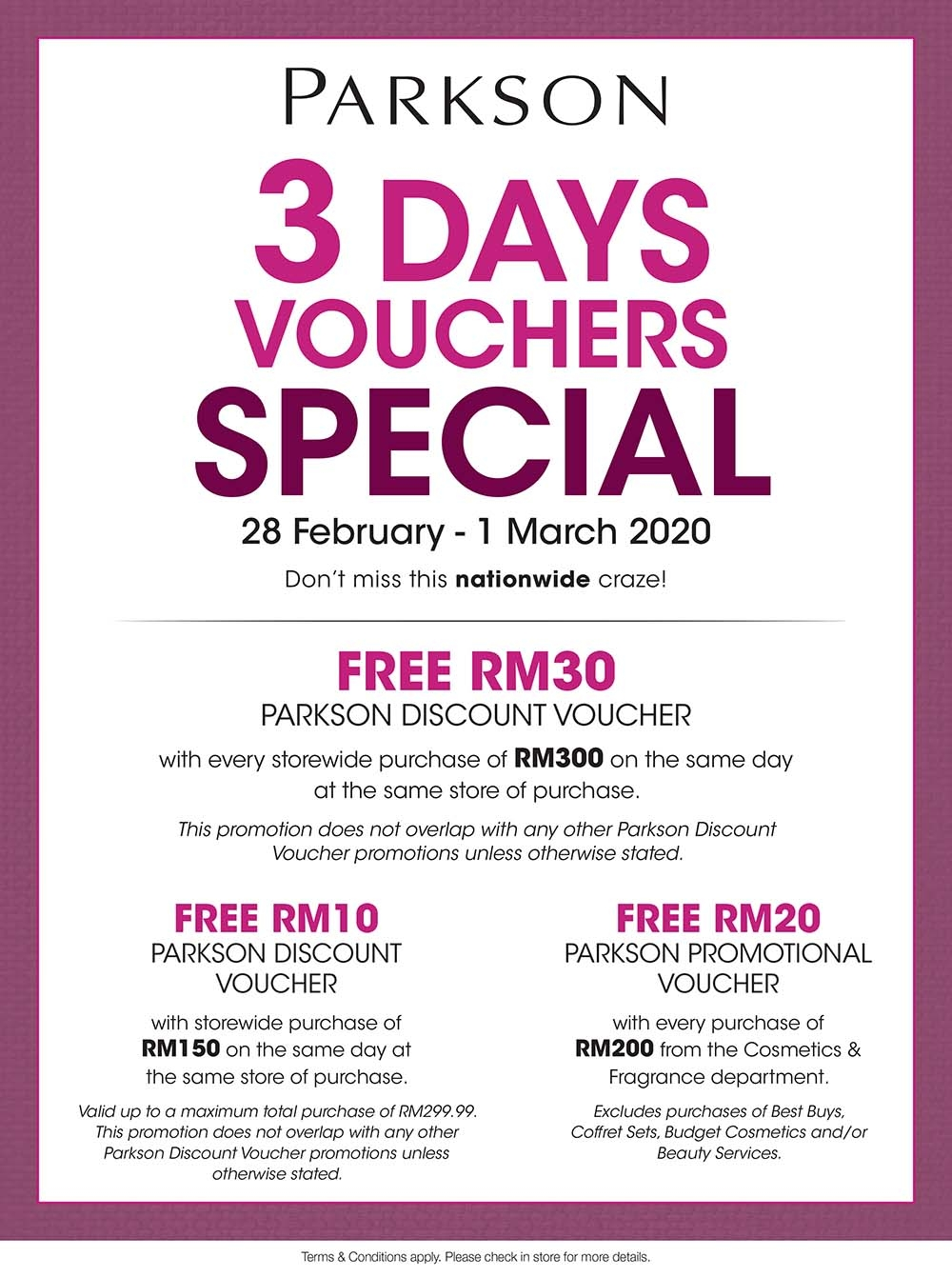 Parkson 3 Days Voucher Special